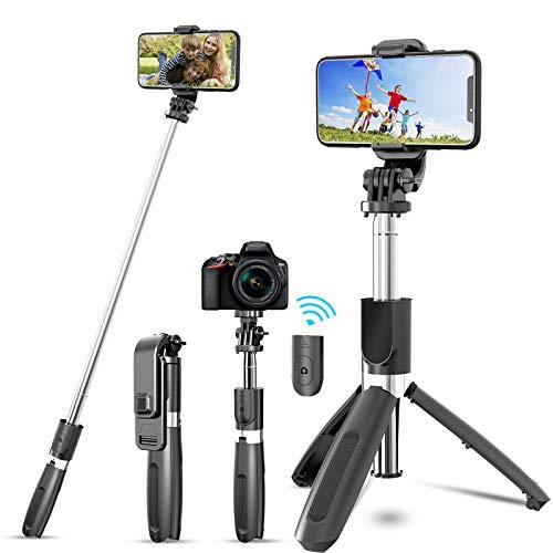 JYPS Palo Selfie Trípode Bluetooth con Control Remoto Inalámbrico y Trípode, Extensible Selfie Stick Monópode para iPhone12pro/12/11pro/11/XR XS/XS MAX, Android, Gopro, Cámara pequeña