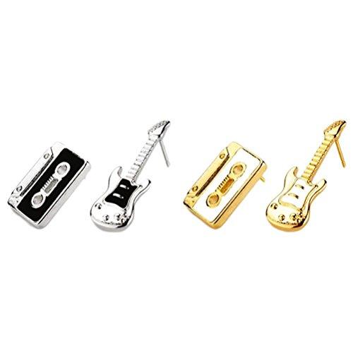 JOE COOL Pendientes tachonados de Guitarra Retro y Cinta de Cassette: Dos Colores para Elegir