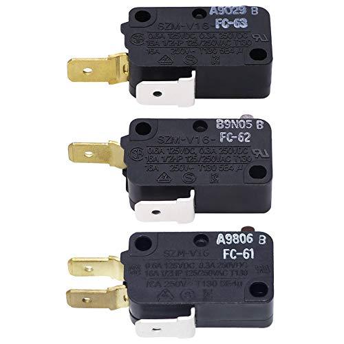 Primeswift W10727360 & W10269458 & W10269460 Microwave Door Interlock Switch Replacement for Whirlpool GE SZM-V16-FC-61 SZM-V16-FC-62 SZM-V16-FC-63