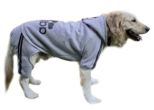 Scheppend Original Adidog Big Dog Large Clothes Sport Hoodies Sweatshirt Pet Winter Coat Retriever Outfits, Grey 5XL