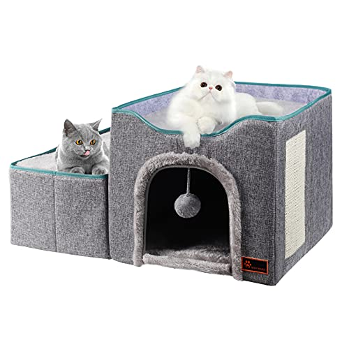 MAYWARD Cat Cube Foldable Cat House with Detachable Storage Box for Indoor, Dog Stairs Multifunctional Cat Bed Cave with Ball Hanging and Scratch Pad...