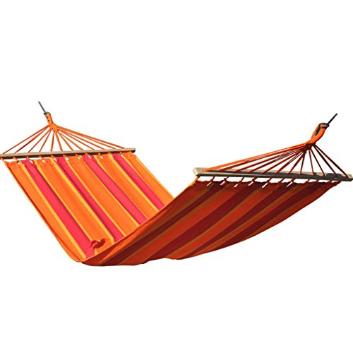 MMWYC Camping Hammock, Canvas Individual Outdoor Travel Hammock Portable Hammock With Tree Straps For Camping Hiking Backpacking Orange Stripes 200x110cm(78.7x43.3in)
