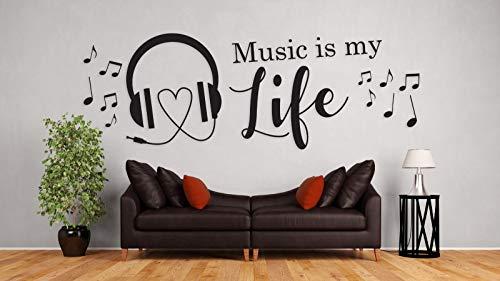 tjapalo® a32 Deko Wandspruch Wandtattoo Musik Wohnzimmer Musikspruch Jugendzimmer Musik ist mein Leben Wandtattoo Music is my Life, Größe: B100xH34cm, Farbe: dunkelblau