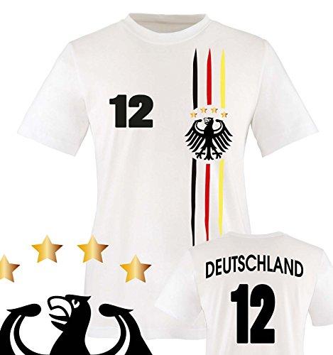Comedy Shirts - WM 2018 | M1 | VORNE + HINTEN | 12 - Kinder T-Shirt - Weiss/Schwarz-Rot-Gelb Gr. 86-92