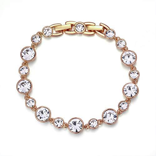 Redondo Swarovski Element Pulsera de circonio cúbico, Pulsera chapada en Oro Rosa de 18 k, Pulsera de Tenis [18cm] Regalos de San Valentín para el Día de la Madre en Navida (Oro Amarillo)