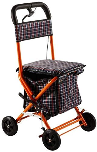 LXDDJZXQ Andador para Ancianos Walker, Andador, Plegable Cuatro Ruedas Roller Walker con Asiento Acolchado con Cerradura de Freno Mango ergonómico y Estuche de Transporte Walker