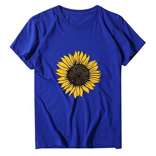 Auifor dames zonnebloemen print tops plus size blouse, ronde hals, korte mouwen, casual los T-shirt