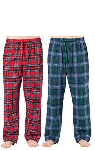 Addison Meadow Flannel Pajamas for Men - Mens Pajama Pants, 2-pk, Red/Green, LG