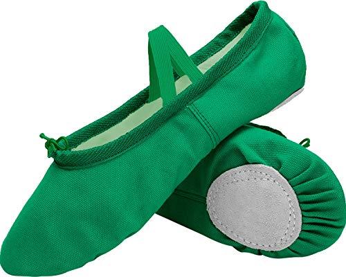 L-RUN Girls Ballet Shoes Canvas Balletrina Slipper Dance Shoes Green 2 Little Kid