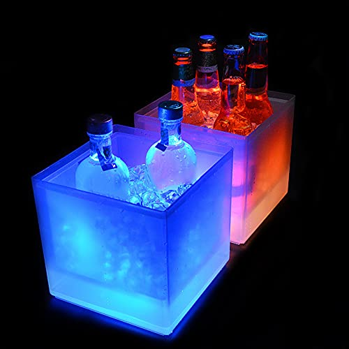 woyada Cubo de hielo LED, refrigerador de vino de gran capacidad 5L Led impermeable con varios colores cambiantes, alimentado por batería, Champagne Retro Wine Drink Beer Bebida Cubo de hielo