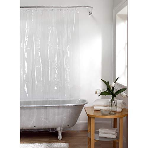 Maytex Duschvorhang aus Eva, schimmelfrei, ohne PVC, robust, mit rostfreien Metallösen, transparent