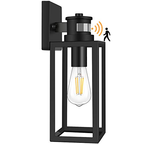 Motion Sensor Outdoor Wall Lantern, Dusk to Dawn Photocell Exterior Light Fixture Wall Mount, Premium Alloy, Clear Glass, Matte Black Wall Sconce for Porch Doorway Garage E26 Socket, Motion Activated