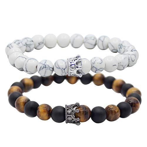UEUC King & Queen Crown - Par de pulseras con ojo de tigre, 8 mm, color negro mate