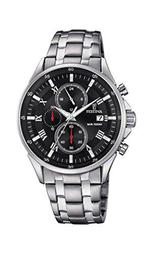 Festina Herren Chronograph Quarz Uhr mit Edelstahl Armband F6853/4