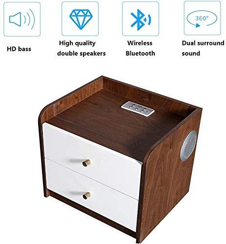 HLJ Holznachttisch drahtlose Bluetooth-Verbindung, 360 Grad;Dual Surround Stereo USB aufladbare mit 2 Massivholz Schubladen mit Kupfergriffe