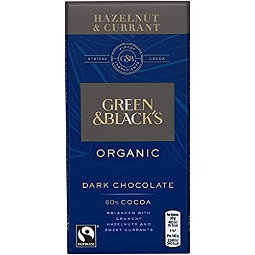 Green & Black's Organic Hazelnut and Currant Dark Chocolate Bar, 90 g