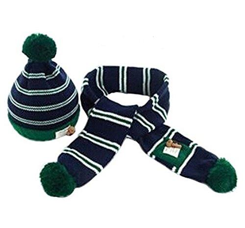 Fablcrew pour enfant Ensemble de Bonnet et Echarpe en tricot crochet Bonnet Cap Ensemble écharpe pour l