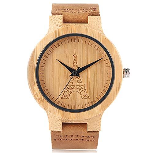 RWJFH Reloj de Madera Esfera grabada Caja de Reloj de bambú Reloj de Pulsera de Cuero para Hombre Reloj de Cuarzo de Madera Natural de Moda Regalo Hombre
