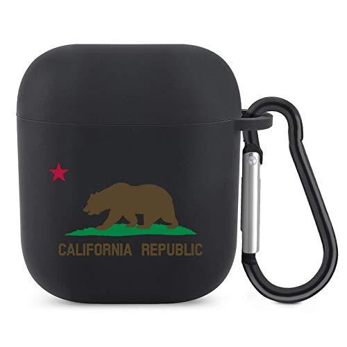 Funda para Airpods con llavero de silicona de diseño de bandera de California Accesorios de protección compatibles con Apple Airpods 2 y 1 para Grils Boys