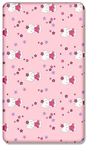 100% Algodón Sábana Ajustable Con Estampado Diseño Para Cuna Bebé 120x60CM - Hello Kitty