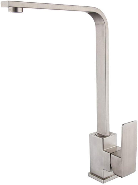 ZFXNB Küchen-Badezimmer-Wannen-Hhne, Bad-Duschsysteme 304 Edelstahl-Küchen-heies und kaltes Wasser-Hahn-Wannen-Wannen-gebürsteter quadratischer Hahn
