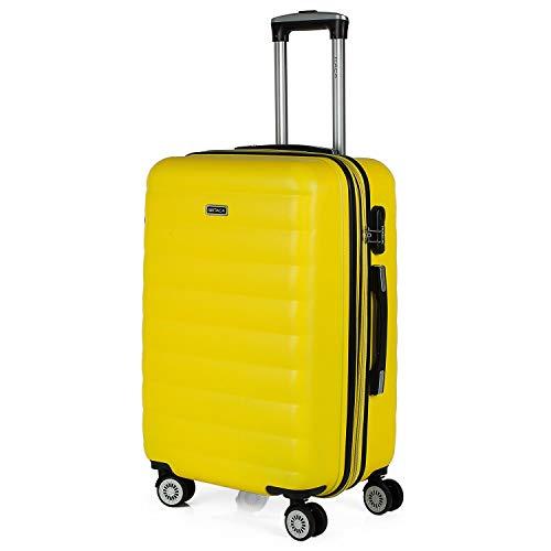 ITACA - Maleta de Viaje Rígida 4 Ruedas Mediana Trolley 65 cm de ABS. Dura Extensible Resistente Cómoda Práctica y Ligera. Calidad Marca y Precio. Estudiante y Profesional. 71260, Color Amarillo