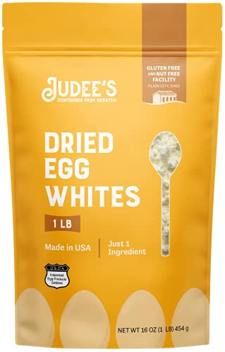 Judee's Dried Egg White Protein Powder 1lb (16oz) - Pasteurized, USDA Certified, 100% Non-GMO - Gluten-Free & Nut-Free - Just One Ingredient- Made in USA