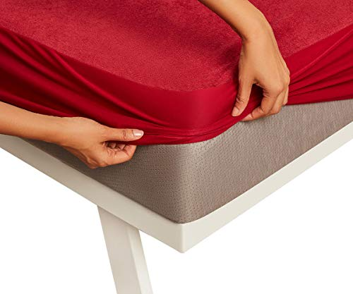 """Wakefit Water Proof Terry Cotton Mattress Protector 72""""x36"""" - Single, Maroon"""