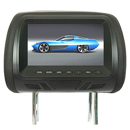 RONSHIN 7 Inch Auto Hoofdsteun Monitor LED Digitale Scherm Kussen Monitor met MP4 MP5 Player Achterbank Entertainment Auto Accessoires as shown Zwart
