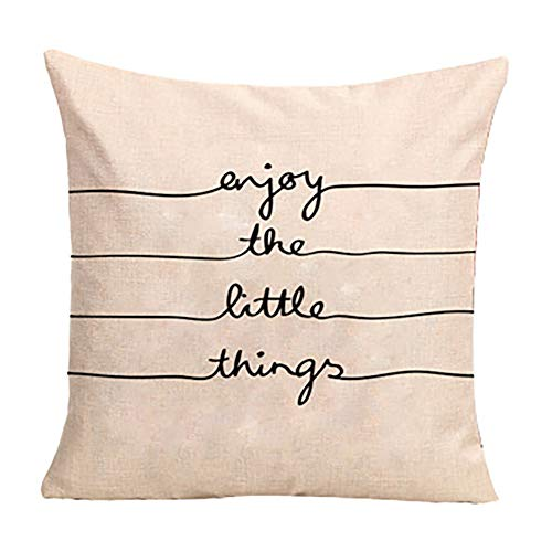 Gysad Fundas de Cojines Patrón de Frase en inglés Pillow Case Suave y Confortable Fundas de Cojines para Sofa Decoración Creativa del hogar