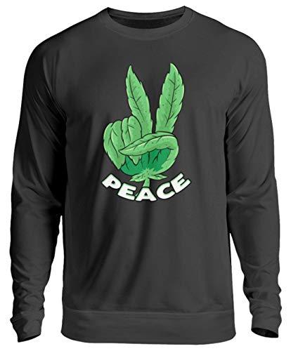 generisch Weed Peace Gras Rauchen Cannabis Blatt Hanf THC Kiffer Sweatshirt Bong - Unisex Pullover -L-Jet Schwarz