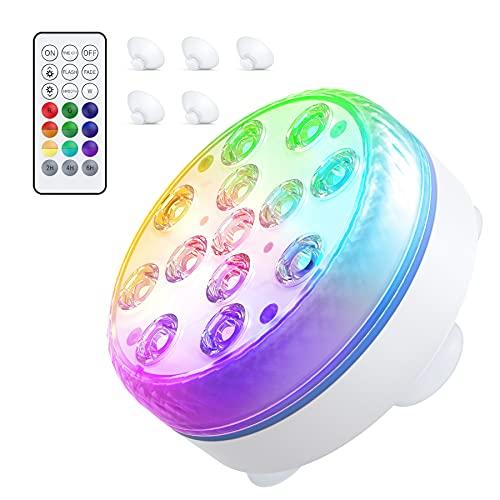 Smarich Unterwasser LED Licht, Poolbeleuchtung mit RF-Fernbedienung, IP68 Wasserdichtes Pool Beleuchtungen mit 13 LED, Pool Licht mit 4 Magnet, 4 Saugnäpfen, für Teich Schwimmbad Vase Halloween Party