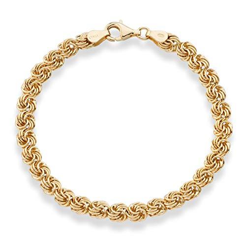 MiaBella 18K Gold Over Sterling Silver Italian Love Knot Rosette Link Chain Bracelet for Women 6.5, 7, 7.5, 8 Inch 925 Handmade in Italy (8)