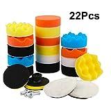 22-teiliges Auto-Schaumstoff-Polierpad-Set, zum Schleifen, Polieren, Wachsen, Versiegeln von Glasur (3 Zoll Polierpads, Bohradapter, Saugnäpfe)