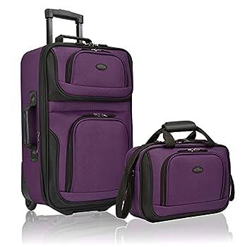 U.S Traveler Rio Rugged Fabric Expandable Carry-On Luggage Set Purple 2-Piece
