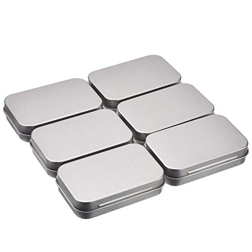 JZZJ 6 Pack 3.75 x 2.45 x 0.8 inch Tins Container Rectangular Hinged Containers Small Storage Kit...