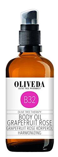 Oliveda B32 Huile pour le corps au pamplemousse rose   Harmonizing   Huile de soin naturelle   Soin et protection contre les peaux sèches   Diminue le stress & Relaxant – 100 ml