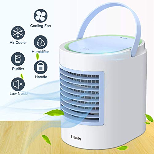 ENKLEN Portable Air Conditioner, Personal Mini Air Cooler, Quiet USB Desk Evaporative Air Cooler Fan with 7 Colors Night Light, Fast Cooling Personal Space, for Home Office Outdoors Travel, Blue