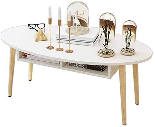 NYDZ Tafel Woonkamer Koffietafel, Creatieve Ovale Theetafel, Effen Hout Multifunctionele Slaapkamer Bijzettafel