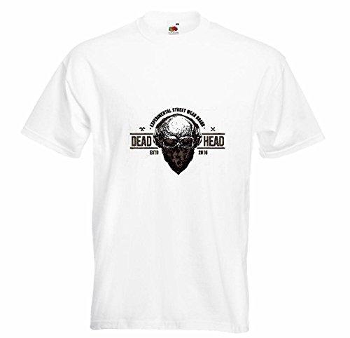 T-shirt Remera Dead Head Motorist doodskop met hoofdtelefoon en een gezichtshanddoek VORM Gothic motorrijder Club motorfiets MC CURSOR in wit