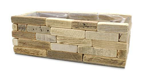 DARO DEKO Blumenkasten aus Holz mit Einsatz S - 30 x 14 x 10,5cm