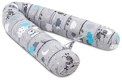 Jukki Stillkissen, Seitenschläferkissen. Schwangerschaftskissen XXL, Kissen 170 cm für Mutter und Baby, Lagerungskissen, mit Bezug aus 100% Baumwolle, Baby Pillow, Motiv: Zebras