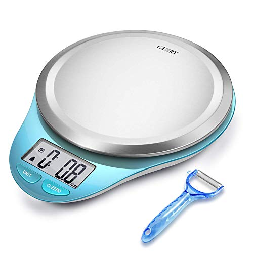 Básculas de cocina Balanza de cocina digital con pelador de verduras,pesos digitales,gramos,libras y onzas. Capacidad de 5 kg / 11 libras de NUTRI FIT (Light Blue)