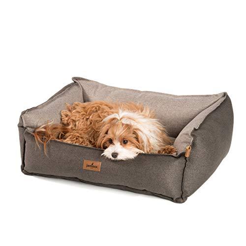 JAMAXX Premium Hundebett - Orthopädisch Memory Visco Füllung, Extra-Hohe Ränder, Waschbar, Nässe-Schutz, Hochwertiger Stoff mit viel Eleganz, Hundesofa PDB2018 (S) 70x50 braun+beige