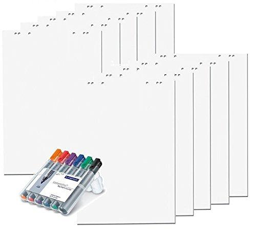10x Flipchartblöcke, weiß blanco/blanco, je Block 20 Blatt 69x99 cm, 6 fach Lochung, perforiert, Papier für Flipchart + Markerset 6er