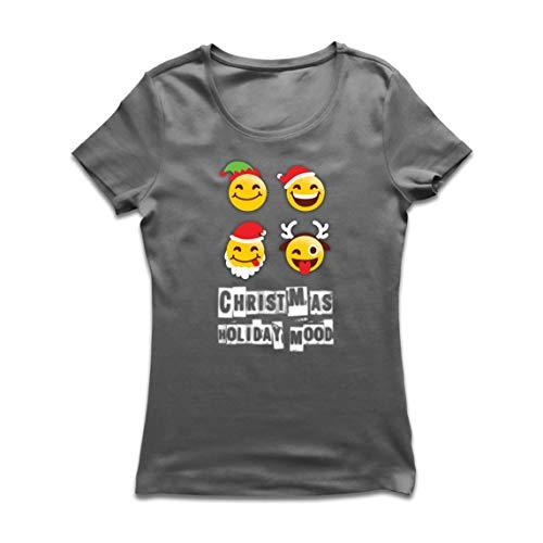 lepni.me Camiseta Mujer Navidad Fiesta Estado de ánimo Emoción Divertida Santa, Elfo, Reno (Medium Grafito Multicolor)
