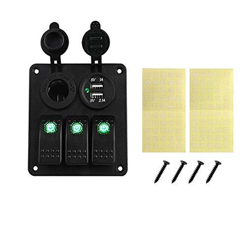 LIUXIAOKE LED 3 pandillas Rocker Interruptor del Interruptor Power Socket 3.1A Kits de cableado de USB Dual y Etiquetas de Etiqueta de Etiqueta DC12V 24V Ajuste para el automóvil de Barco Marino