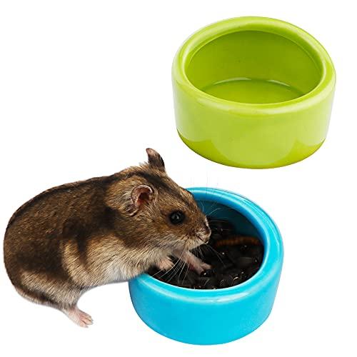 2 Pcs Ceramic Hamster Bowl, Small Animal Food Bowl and Water Dish Feeder for Hedgehog Hamster Guinea Pig Sugar Glider Rat Gerbil Mice Chinchilla ( Blue and...