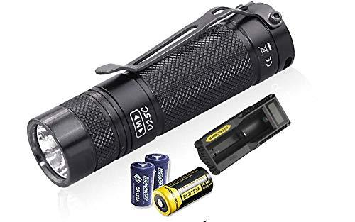 Value Bundle: Eagletac D25C MKII XM-L2 U4 Flashlight - 800 Lumen,128 meter throw with 2x Eco-Sensa CR123A Batteries,1x RCR123A Rechargeable Li-ion Battery and UM10 USB Charger