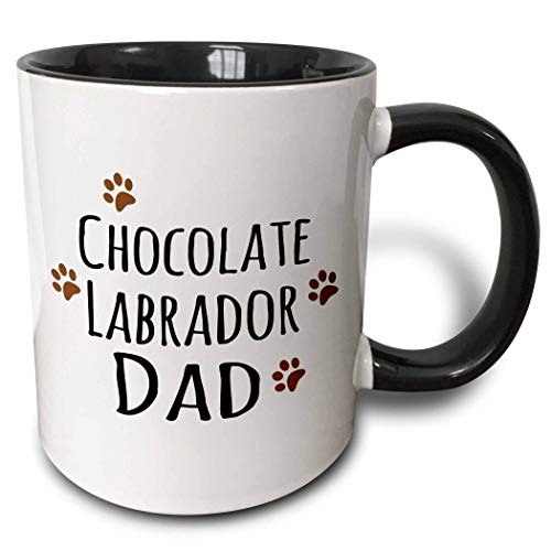 Taza de chocolate Labrador Dog Dad, negra, taza de café de cerámica para oficina y hogar, taza de té para café, té, leche o cacao, regalo de cumpleaños único para hombres y mujeres, 11 oz